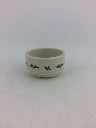 Longaberger Pottery Stackable Custard Cup Traditional Holly Made in USA