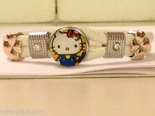 ❤️HELLO KITTY �� BEAUTIFUL SNAP BUTTON BRACELET LEATHER GOLD SILVER FASTENINGS❤️