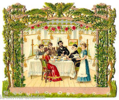 jüdisches Glanzbild um 1900, Laubhütte, Sukkot - Judaica - DIE CUT SCRAPS JEWISH