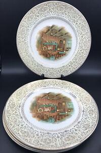 """VTG IMPERIAL SALEM CHINA CO 23 KARAT GOLD MADE IN USA Set Of 4 Dinner Plates 11"""""""