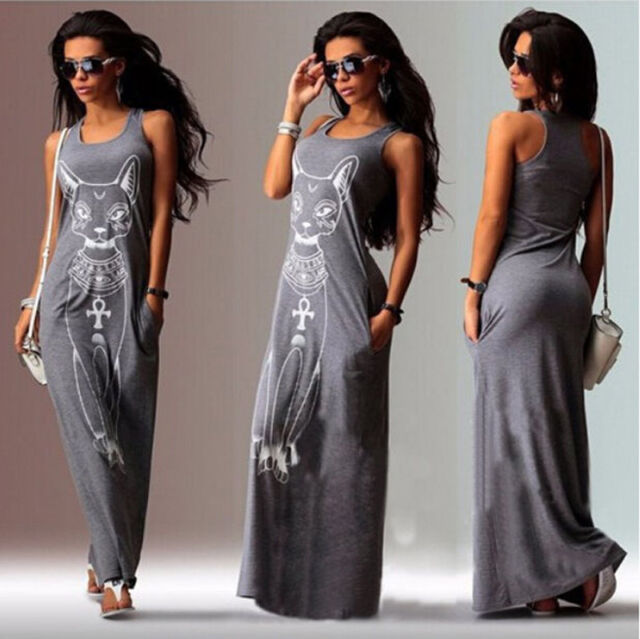 New Women Summer Sexy Casual Boho Long Maxi Party Beach Dress Vest Sundress S-XL