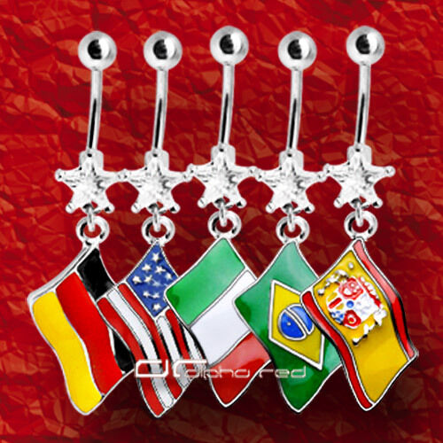 »»» FAHNE FLAGGE BAUCHNABELPIERCING Deutschland USA Brasilien Spanien 3286