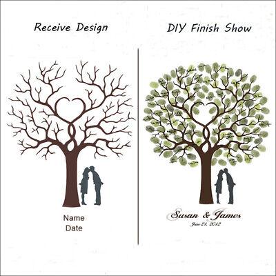 OM/_Fingerprint Tree Canvas Painting DIY Guest Book Signature Wedding Party Decor