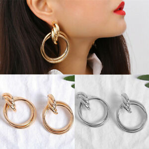 Exaggeration-Women-Gold-Circle-Statement-Geometric-Dangle-Drop-Earring-Jewelry