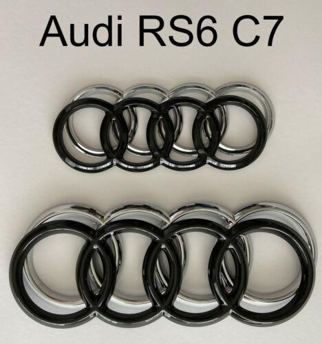 Audi RS6 C7 Avant Audiringe Cover hochglanz–schwarz blacked out Badge Cover