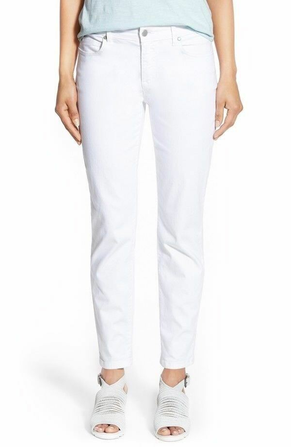 Eileen Fisher Garment Dyed White Skinny Ankle Jeans Sz 4 NWT  Organic Cotton