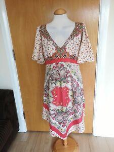 Ladies-OASIS-Dress-Size-14-Cream-Coral-Sequin-Trim-Party-Wedding-Races
