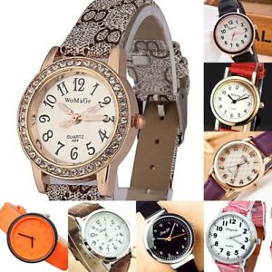 Women Watch with Numbers Steel case Faux Leather Analog Quartz Wrist ... 5c30cb31b