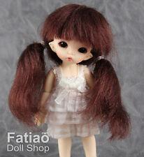 "Fatiao - New BJD Dollfie Pukipuki puki 3-4"" Doll Wig Dark Brown"