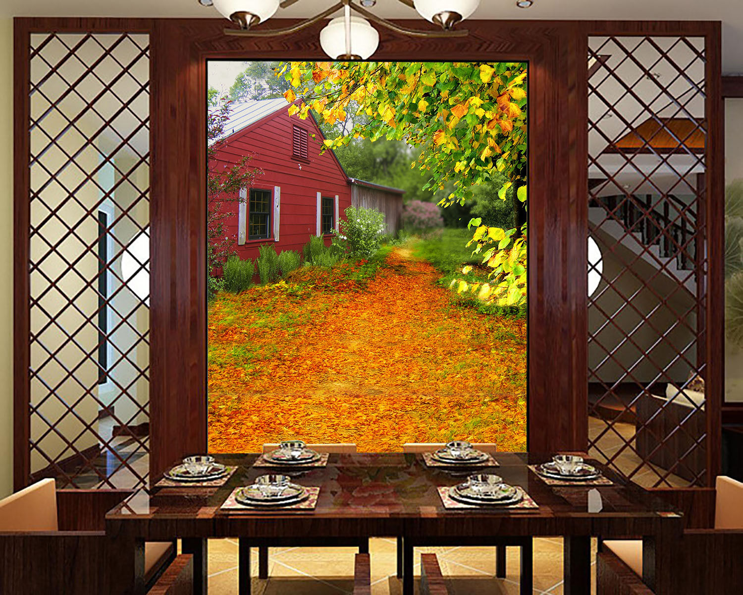 3D Deciduous Leaves House 8 Wall Paper Wall Print Decal Wall AJ WALLPAPER CA