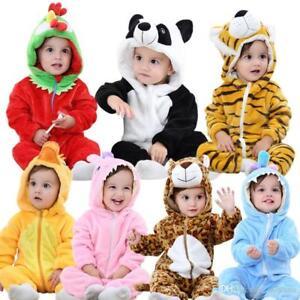 0139527c8486a Image is loading baby-unisex-animal-flannel-costume-romper-pyjamas-jumpsuits -