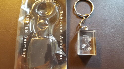 Schlüsselanhänger 3D Laser Kristall Sternzeichen Tierkreis Zwillinge Neu//OVP 172