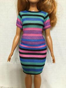 Barbie Fashionistas Curvy Doll/'s Outfit Striped Dress