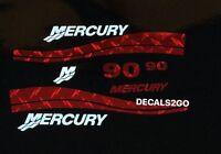 Mercury Outboard Decal Red Diamond Plate Marine Vinyl 90 Hp 40- 50 - 60- 75