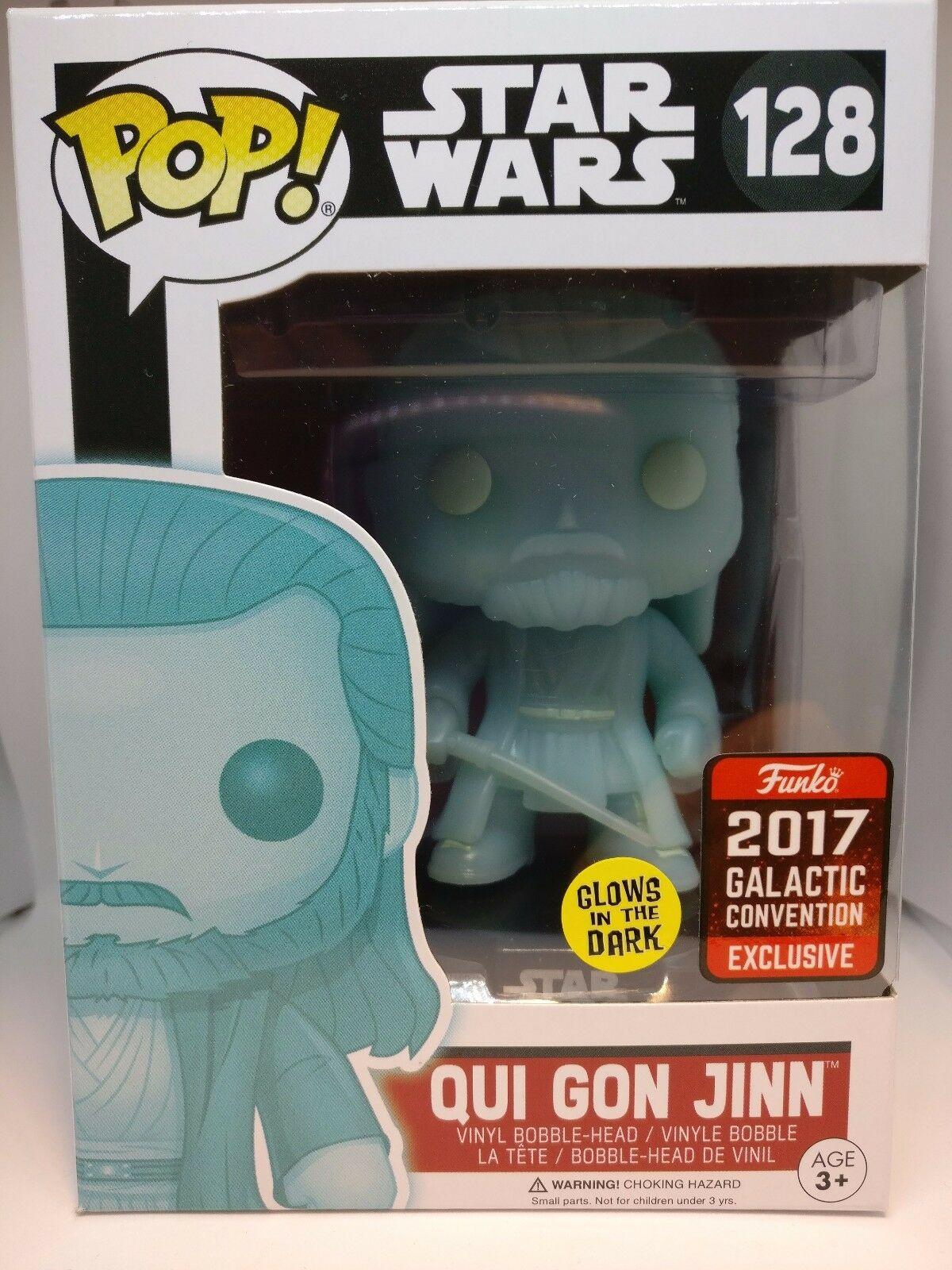 Funko POP  128 Qui Gon Jinn Galactic Convention 2017 Glow In The Dark