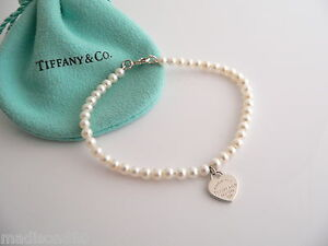 tiffany co return to tiffany silver pearl heart mini