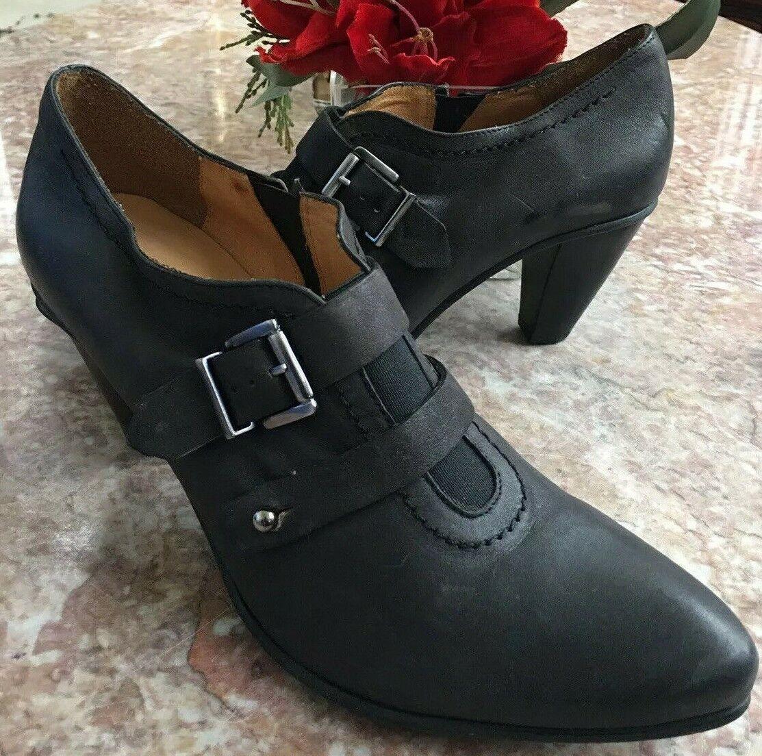 NEW Fidji Women's Black Charcoal Size 10M EUR 41 Low Ankle Heel Bootie MSRP