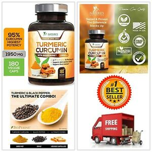 Natures Nutrition Turmeric Curcumin with Bioperine and Ginger 1950mg 180 Caps