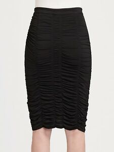 NWT-Burberry-London-Women-039-s-Black-Knee-Length-Ruched-Skirt-6