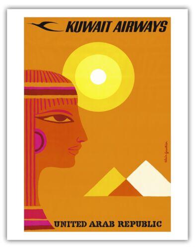 United Arab Republic Pyramids Vintage Airline Travel Art Poster Print Giclee