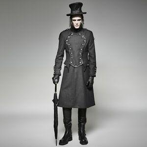 Punk-Rave-Men-039-s-Gothic-Steampunk-Victorian-Vampire-Military-Long-Jacket-Coat