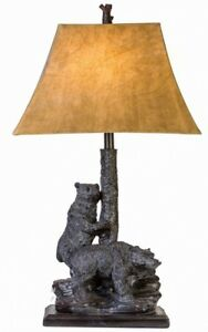 Image Is Loading Bear Friends Table Lamp Rustic Cabin Lodge Decor