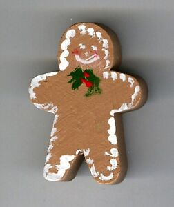 Wooden Hand Painted Gingerbread Man With Holly Tie Pin Ggbm2 Ebay