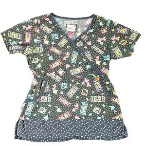 a46e99d3308 Mary Engelbreit Scrub Top Mock Wrap Shirt Nursing Love Home Womens ...