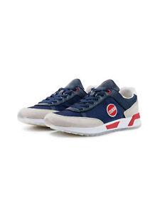 Scarpe-Uomo-Colmar-Travis-Original-Pelle-Nylon-Sneakers-Bianche-Blu-Nuove
