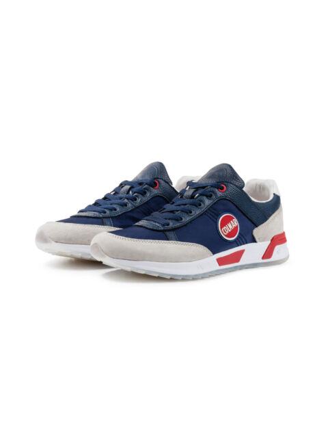 Men's Shoes Colmar Travis Original Leather Nylon Sneakers White Blue New