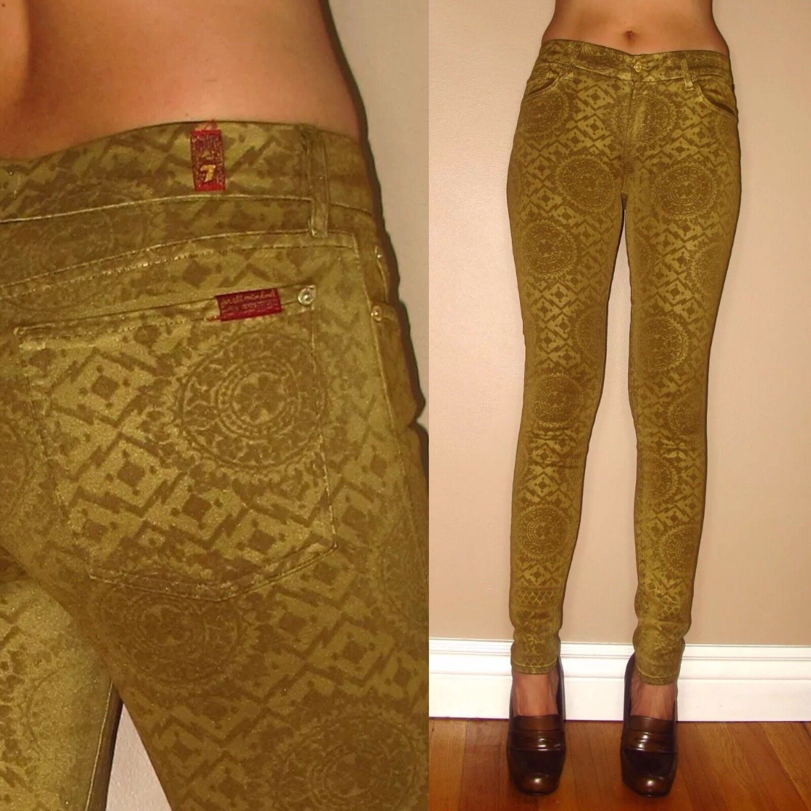 198 7 For All Mankind Skinny High Waist Jeans gold Waxed Leather-Look 24