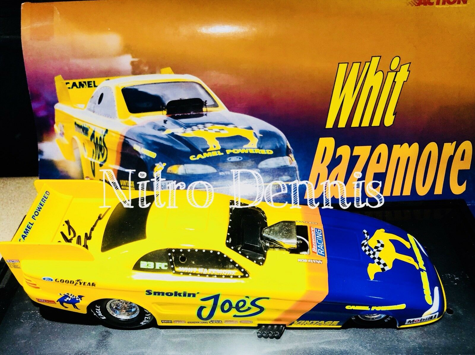 """NHRA Whit Bazemore 1 24 Diecast NITRO Funny Car1996 Action Action Action SMOKIN JOE'S """"Signed"""" 4be95c"""