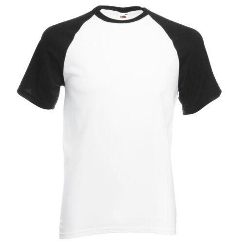 3XL MEN SHORT SLEEVE T-Shirt Fruit of the Loom Baseball Cotton Tee Contrast S
