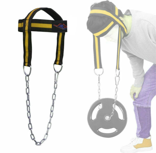 GYM WEIGHT LIFTING HEAD NECK STRENGTH HARNESS STRAP FITNESS EXERCISE GOLD LINES