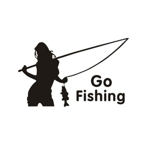 Go Fishing Sticker Decals Cool funny car styling decoration Black BSCA