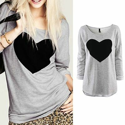 Fashion Womens Love Heart Long Sleeve Casual Loose Tee Shirt Tops Blouse