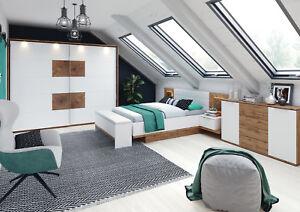 schlafzimmer set livorno kommode bett nacttisch kleiderschrank mit beleuchtung ebay. Black Bedroom Furniture Sets. Home Design Ideas