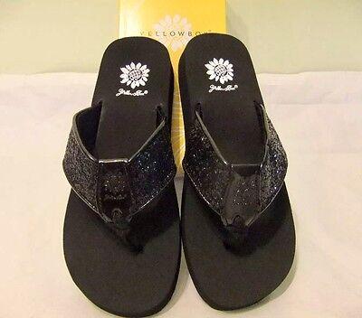 yellow box sparkle flip flops