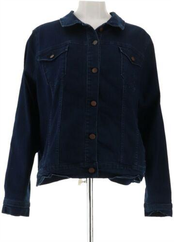Martha Stewart Denim Button Front Jean Jacket Dark Indigo M NEW A309516