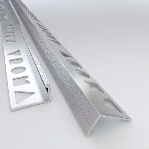 Matt 10x TILE TRIM Mill 2.5M ALUMINIUM Bright Chrome STRAIGHT EDGE L-SHAPE