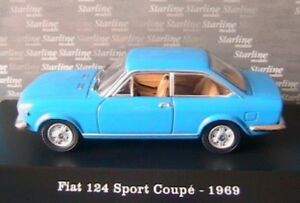 FIAT 124 SPORT COUPE 1969 BLUE CANNES STARLINE 510813 1/43 BLU DIE CAST MODEL