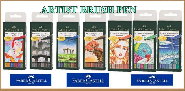 FABER-CASTEL PITT PROFESSIONAL ARTIST PEN BRUSH NEW SUPER PRICE 6 COLOURS
