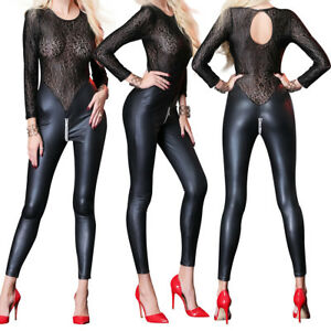 02f4c56abb Image is loading Women-Sexy-Leopard-Lace-Faux-Leather-Bodysuit-WetLook-