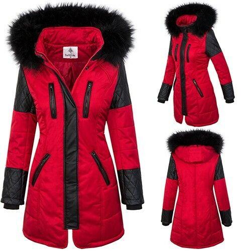 Damen Winter Jacke Mantel Parka Damenjacke Outdoor Kunstfellkragen Kapuze D-355
