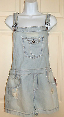 New Juniors size Large Jean Shorts Overalls Denim Striped Shortalls Distressed