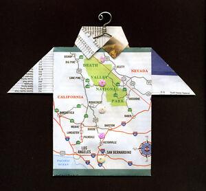 Details about Origami Map Shirt Death Valley, Los Angeles, San Bernardino,  California, Nevada