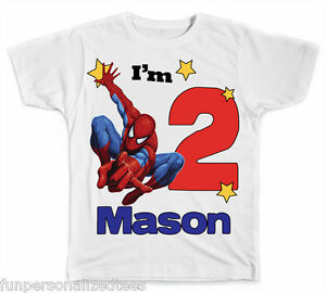 Personalized Big Number Spiderman Birthday T Shirt