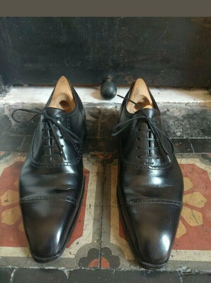 FAIT MAIN homme noir bouts Formel Cuir Veau Chaussures (gravure, Ceinture & Portefeuille)