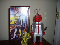 Sparky Silver Body Red Faced Tin W/u Come W/robot Stickers & Robot Classic Cards