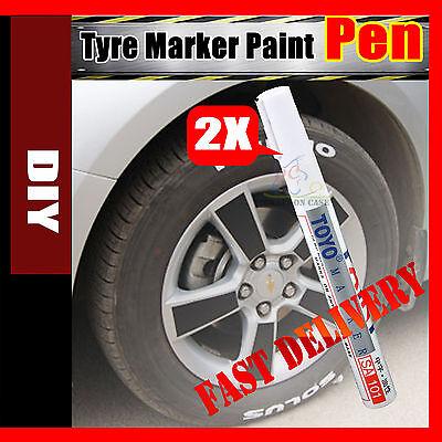 2x Waterproof White Car Motorcycle Cool Tyre Tire Tread Paint Marking Pen Marker
